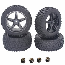 4pcs RC Tires Wheel Rims 12mm Hex Foam Insert With Nylon Lock Nut M4 For 1/10 Buggy HSP XSTR Redcat Tornado S30 Shockwave Nitro