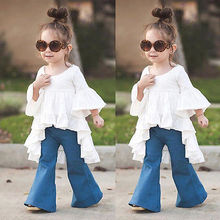 Princess Kids Baby Girl Dress Frills Flare Sleeve Tops Shirt Dresses kids blouse 2017 lattest fashion