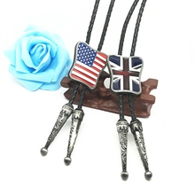 Fashion Western cowboy Bolo Tie British flag American flag logo Metal buckle Black Leather Necktie Men's Necklace Jewelry(China)