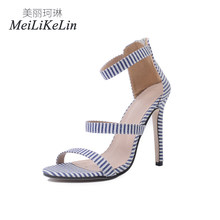 baa50001c816ff MeiLiKeLin NEW Summer Fashion Style women s high heels Striped ladies  Zipper Concise shoes woman sandals US5-9 BLue