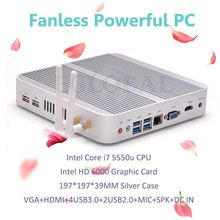 Eglobal Windows 10 Mini pc i7 5550U Barebone HTPC Intel Nuc Fanless Computer Broadwell Graphics HD 5500 300M Wifi 4K Car pc(China)