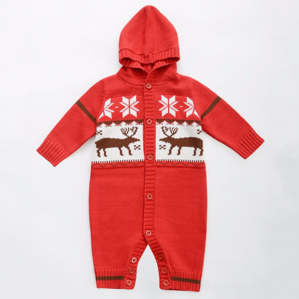 Hooded Baby Rompers Knitted Cotton Baby Girl Clothing Little Deer Printed Long Sleeve Jumpsuits For Newborn Infant Girl Clothing<br><br>Aliexpress