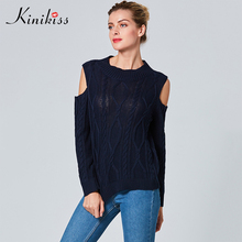 Kinikiss Women Cold Shoulder Argyle Sweater Classic Blue Knit Sweater Pullover O-Neck Casual Long Sleeve Knitwear Sweater(China)