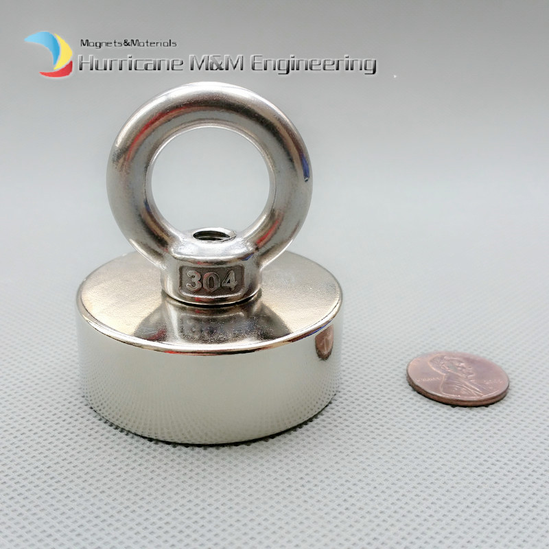 1 Pack NdFeB Lifting Magnet about Dia. 50x20 mm with M8 Screw Countersunk Hole N52 Neodymium Rare Earth Permanent Magnet<br>