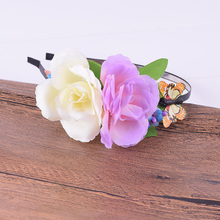 Butterfly Rose Flower Elasticity Floral Headband Hairstyles Headwrap Floral Crown Wedding Women Girl Christmas Woman Photography