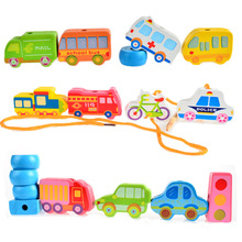 BOHS Baby Wooden String Line Beads City Traffic Alphabetic Number Garden Building Blocks Toy, with Storage Bag(China)
