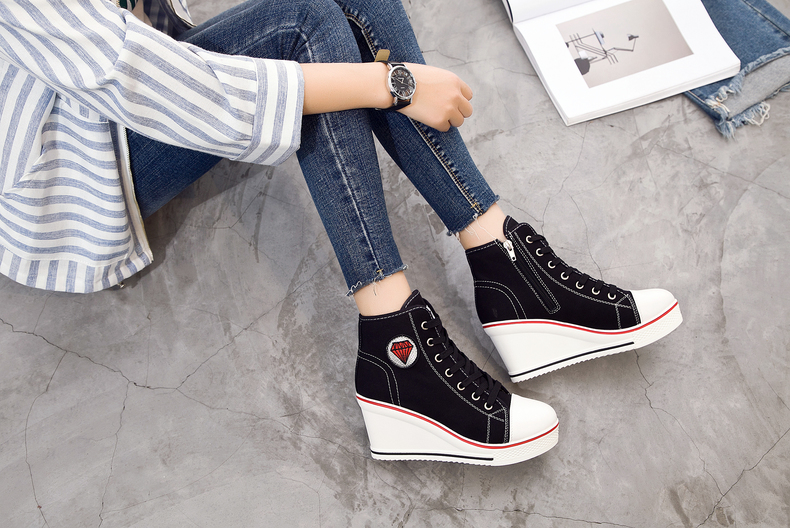 Women's Shoes Hidden Wedge Heel Shoes 18 Women Casual Shoes Canvas Sneakers High Top Breathable Platform Chaussure Femme 22