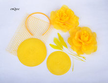 Wholesale Attractive multiple color Yellow DIY sinmay fascinator hat bridal fascinator for wedding Races party.FREE SHIPPING