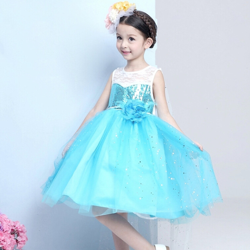 Wait until the children dressed in lace princess sky blue wedding dresses fantasy crew neck sequins ball gown childrens clothin<br><br>Aliexpress