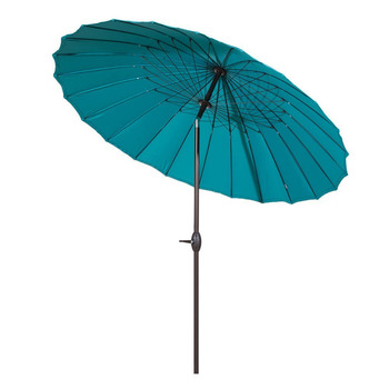 Abba Patio 8.5' Round Parasol Patio Umbrella with Push Button Tilt and Crank 24 Steel Wire Ribs UV Resistant Fabric Turquoise