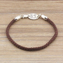 S925 Sterling Silver Cross Bracelet Homme Japan And Korea Couple CH Fashion Brown Hand Rope Men And Women Retro Thai Silver(China)