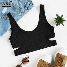Dotfashion Summer Women's Casual Tops Black Cutout Ribbed Knit lingerie 2017 Women Round Neck Sleeveless Sexy Camisole(China)