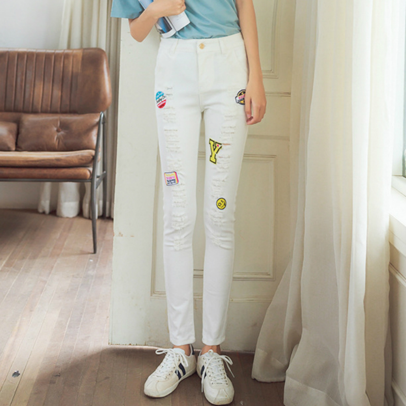 Kesebi 2017 Spring Summer New Hot Women Korean Slim Casual White Patches Zipper Jeans Female Washed Ripped Button TrousersОдежда и ак�е��уары<br><br><br>Aliexpress