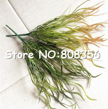 Plastics Greenery Artificial Long Leaf Grass Bunch Fake Wicker Flat Grasses Green Plant for Wedding Xmas Home Wall Decoration