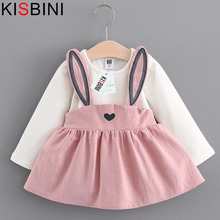 KISBINI Baby Dress Long Sleeve Girl Dress 2017 New Autumn Fashion Style Children Clothing Cotton Infant Kids Clothes Cute Rabbit(China)