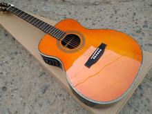 Custom Orange color 28 Style classic acoustic guitar,Solid Spruce top,Abalone inlays Ebony Fretboard OM body acoustic Guitar