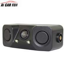 3 IN 1 Video Parking Sensor Car Reverse Backup Rear View Camera with 2 Radar Detector Sensors BiBi Alarm Indicator Anti Car Cam