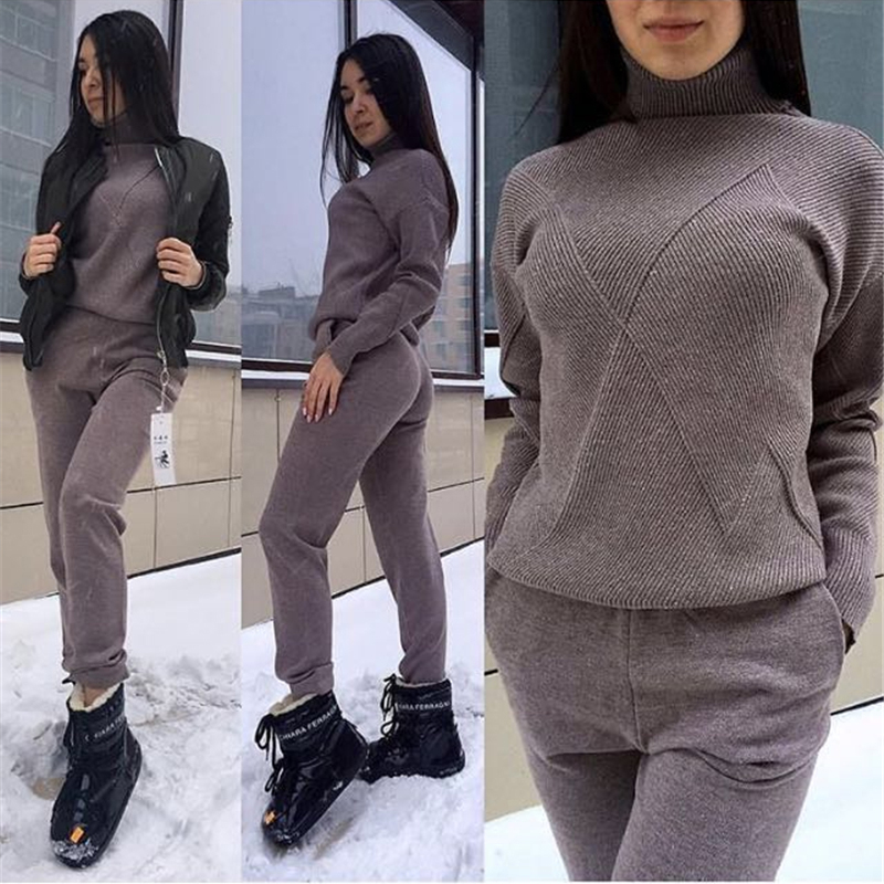 Knitted Trousers Jumper Tops Set Casual Suit Women turtleneck Pullover Sweaters and Long Pant 2 Piece set tracksuit for women
