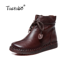 Tastabo 가 부츠 Round Toe Ankle Boots 제 Lady soft Flat shoes Casual Women's shoes 숙 녀 마틴 Motorcycle Boots(China)