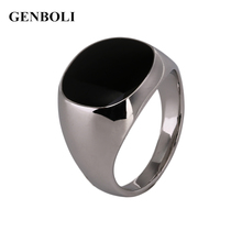 GENBOLI Fashion Non-Fade Stainless Steel Metal Ring Silver Color Black Onyx Stone Engagement Wedding Ring