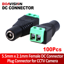 100pcs/lot Female DC Connector 5.5/2.1mm CCTV UTP DC Power Plug Adapter Cable DC/AC 2/Camera Video Balun