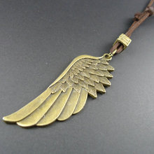 2014 New arrival handmade vintage Angel Wing long leather pendants necklaces men jewelry women