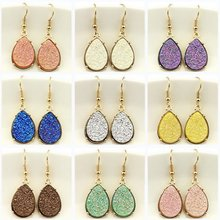 9 Colors 2018 Resin Druzy Teardrop Earrings for Women Gold Fashion Water Drop Statement Drusy Earrings Popular Jewelry Wholesale(China)
