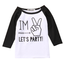 Toddler Infant Kids Baby Boys Girls long Sleeve Clothes Tee Letter Print Funny T-shirt Tops Casual Outfit(China)