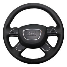 Auto Steering Wheel Covers Case for Audi Audi A3 A7 A8 Q7 Genuine Leather DIY Hand-stitch Steering Cover Black