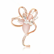 OneckOha Fashion Jewelry Opal Stone Flower Brooch Pin Rhinestone Brooches Garment Acessories(China)