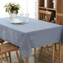 Simple Retro Cotton Linen Household Modern Europe Tablecloth Plain Blue Stripes Waterproof Kitchen Desk coffee Table Cloth(China)