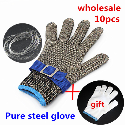 10pc butcher gloves safety protection stainless steel metal mesh glove Level 5 Cut Proof kitchen work Tailor cutting gloves<br><br>Aliexpress