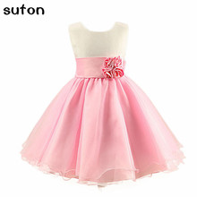 2017 Summer New Baby Girl Rose Princess Dress Sleeveless O-neck Bow Pink/blue Wedding Dress Children Chothing Dress 3-7 Years