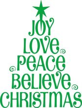 joy Love Peace Believe Christmas Tree Vinyl Wall Decal / Sticker Wall Stickers For Kids Room Baby Festival Wall Decals Mural Art
