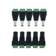 5pcs Female +5 pcs Male DC connector 2.1*5.5mm Power Jack Adapter Plug Cable Connector for 3528/5050/5730 single color led tape