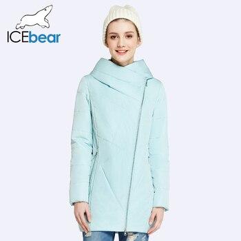 ICEbear 2017 Косой Дизайн Карман В Юбке Пальто Женщин Весной Осенью Женская Парки С Капюшоном Свободные Куртки 17G2311D