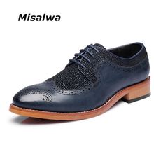 Misalwa Men Crystal Oxfords Men Leather Dress Brogue Shoes Pointed Elegant Men Shoes Free Shipping