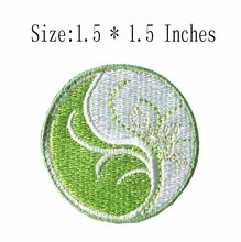"Circle flower embroidery patch 1.5"" wide /green and white /plant patch /iron on  patch"