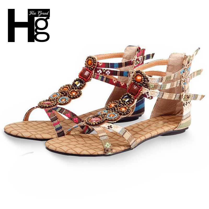 HEE GRAND Summer Style Ethnic Women Sandals 2017 Bohemian Fashion Beading Pu Printed Casual Flats For Woman XWZ797<br><br>Aliexpress