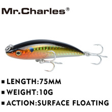 Mr.Charles CMC027 Fishing Lures ,75mm/10g Surface Floating Shad, Assorted Different Colors(China)