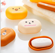 Kawaii Rilakkuma & Yellow Chicken Soap Box Bathroom Soap Dish Plastic Soap Holder Accessories for Bathroom et cute lovely(China)