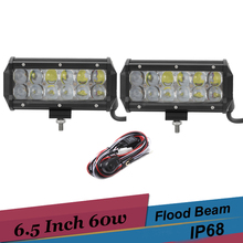 6.5 Inch 60W LED Work Light Off Road Driving Light Bar for Ford f350 dually 2003 SUV Truck 4X4 Trailer Tractor Pickup Fog Light