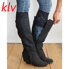 KLV Fashion Saxy Stretch Lace Boot Cuffs Women Gilrs  Legs Warmers Trim Flower Design Boot Socks Knee 2 Colors