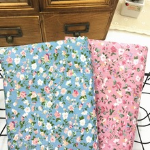 100% cotton twill cloth AMERICAN STYLE retro BLUE PINK small pink floral fabric for DIY bedding apparel dress quilting patchwork(China)