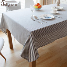 Elegant Striped Tablecloth Rectangle100%Linen Fabric Decoration antifouling Dining /Coffee/ Banquet Table Accept Custom 3colours(China)