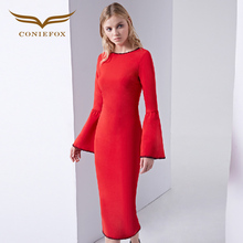 CONIEFOX 38119 red Cocktail Dresses Sequined Mesh winter Styles New Arrival long sleeve Elegant Cocktail Prom Dress Vestido