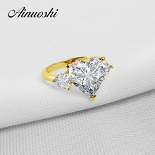AINUOSHI 10k Solid Yellow Gold TC Collection Rings 5 ct Heart Shape CZ 3 Stones Young Lady Engagement Wedding Band Jewelry Ring(China)