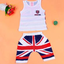 Baby Boys Clothing Set Kids Union Jack Outfits Vest Tops + Pants Set Clothes Ropa Infantil #2415(China)
