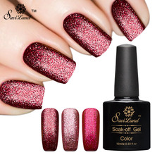 Saviland 1pcs 10ml Glitter Platinum Colors Fingernails Gel Varnishes Soak Off Semi Permanent UV LED Gel Nail Polish