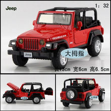 Candice guo alloy car model 1:32 jeep plastic motor rubicon pull back sound light collection children game toy birthday gift 1pc